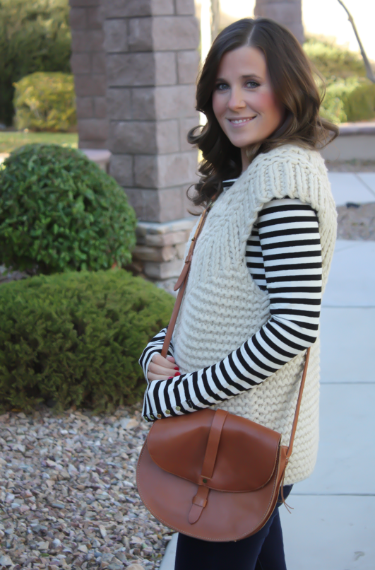 Beige Chunky Knit Sweater Vest, Black Striped Tee, Denim Leggings, Cognac Boots, Cognac Bag, Anthropologie, H&M, Gap, Madewell, Loeffler Randall 10