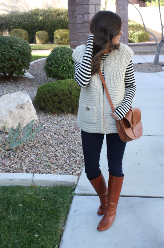 Beige Chunky Knit Sweater Vest, Black Striped Tee, Denim Leggings, Cognac Boots, Cognac Bag, Anthropologie, H&M, Gap, Madewell, Loeffler Randall 13