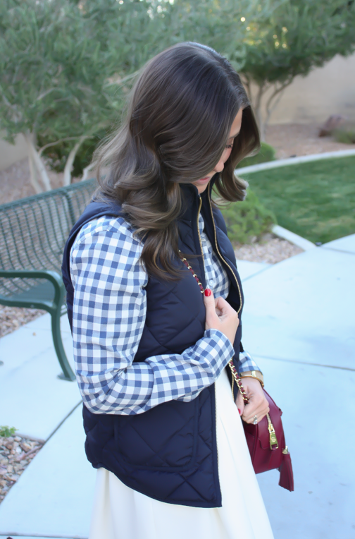 Blue Gingham Flannel Shirt, Navy Quilted Vest, Ivory Box Pleat Skirt, Tan Suede Peep Toe Booties, Chain Strap Crossbody Bag, Banana Republic, J.Crew, Paul Green, Tory Burch 10
