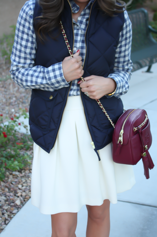 Blue Gingham Flannel Shirt, Navy Quilted Vest, Ivory Box Pleat Skirt, Tan Suede Peep Toe Booties, Chain Strap Crossbody Bag, Banana Republic, J.Crew, Paul Green, Tory Burch 13