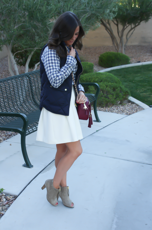Blue Gingham Flannel Shirt, Navy Quilted Vest, Ivory Box Pleat Skirt, Tan Suede Peep Toe Booties, Chain Strap Crossbody Bag, Banana Republic, J.Crew, Paul Green, Tory Burch 16