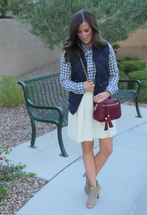 Blue Gingham Flannel Shirt, Navy Quilted Vest, Ivory Box Pleat Skirt, Tan Suede Peep Toe Booties, Chain Strap Crossbody Bag, Banana Republic, J.Crew, Paul Green, Tory Burch 17