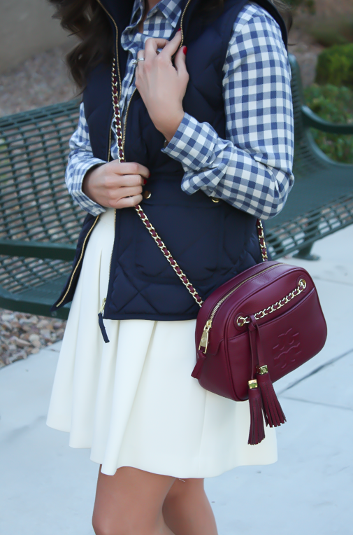 Blue Gingham Flannel Shirt, Navy Quilted Vest, Ivory Box Pleat Skirt, Tan Suede Peep Toe Booties, Chain Strap Crossbody Bag, Banana Republic, J.Crew, Paul Green, Tory Burch 2