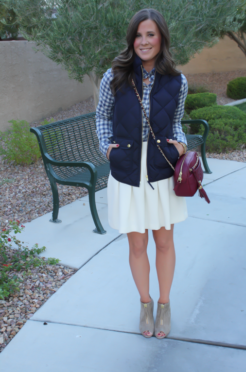Blue Gingham Flannel Shirt, Navy Quilted Vest, Ivory Box Pleat Skirt, Tan Suede Peep Toe Booties, Chain Strap Crossbody Bag, Banana Republic, J.Crew, Paul Green, Tory Burch 5