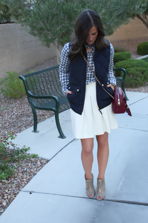 Blue Gingham Flannel Shirt, Navy Quilted Vest, Ivory Box Pleat Skirt, Tan Suede Peep Toe Booties, Chain Strap Crossbody Bag, Banana Republic, J.Crew, Paul Green, Tory Burch 6