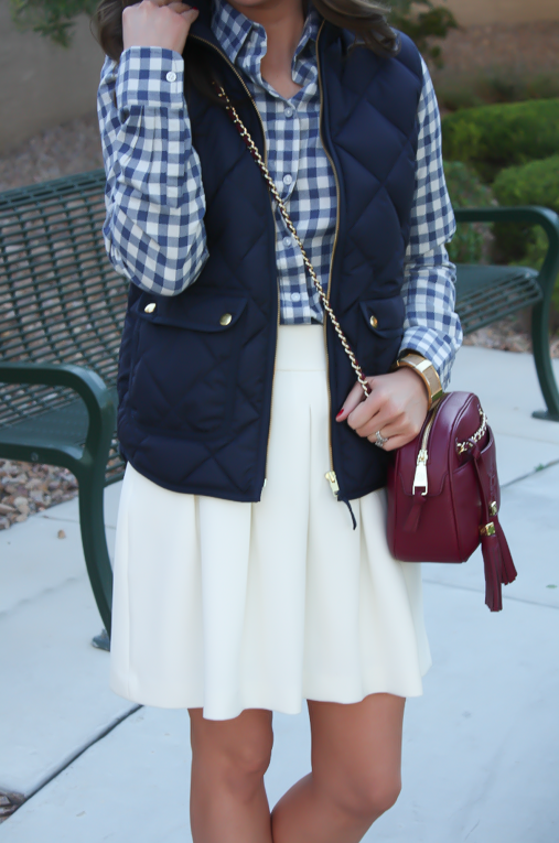 Blue Gingham Flannel Shirt, Navy Quilted Vest, Ivory Box Pleat Skirt, Tan Suede Peep Toe Booties, Chain Strap Crossbody Bag, Banana Republic, J.Crew, Paul Green, Tory Burch 7