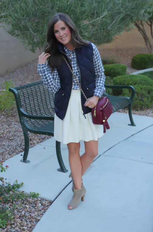 Blue Gingham Flannel Shirt, Navy Quilted Vest, Ivory Box Pleat Skirt, Tan Suede Peep Toe Booties, Chain Strap Crossbody Bag, Banana Republic, J.Crew, Paul Green, Tory Burch