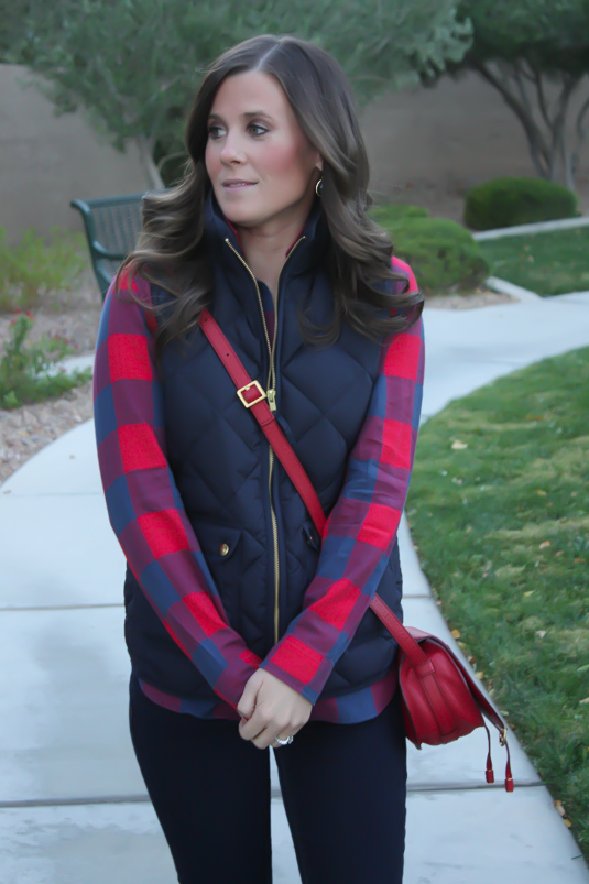 Blue and Red Buffalo Plaid Shirt, Navy Quilted Vest, Dark Rinse Skinny Jeans, Red Crossbody, Slouchy Boots, J.Crew, Gap, Chloe, Joie 10