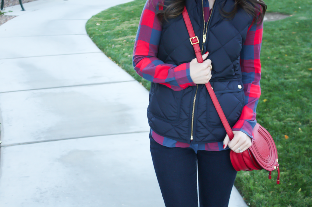 Blue and Red Buffalo Plaid Shirt, Navy Quilted Vest, Dark Rinse Skinny Jeans, Red Crossbody, Slouchy Boots, J.Crew, Gap, Chloe, Joie 14
