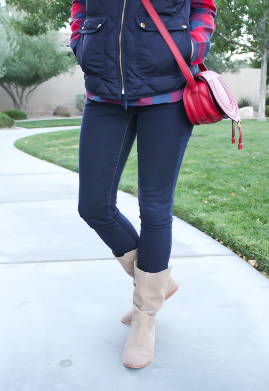 Blue and Red Buffalo Plaid Shirt, Navy Quilted Vest, Dark Rinse Skinny Jeans, Red Crossbody, Slouchy Boots, J.Crew, Gap, Chloe, Joie 15