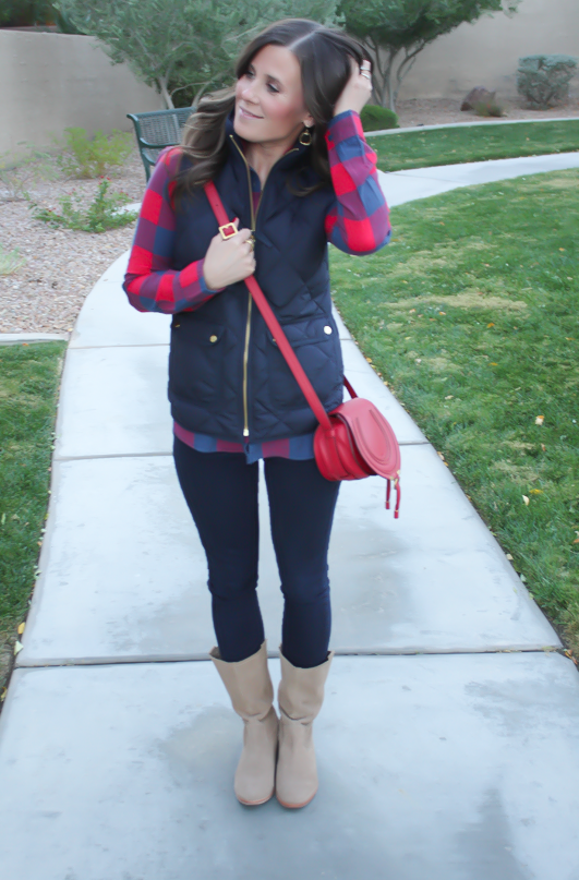 Blue and Red Buffalo Plaid Shirt, Navy Quilted Vest, Dark Rinse Skinny Jeans, Red Crossbody, Slouchy Boots, J.Crew, Gap, Chloe, Joie 4