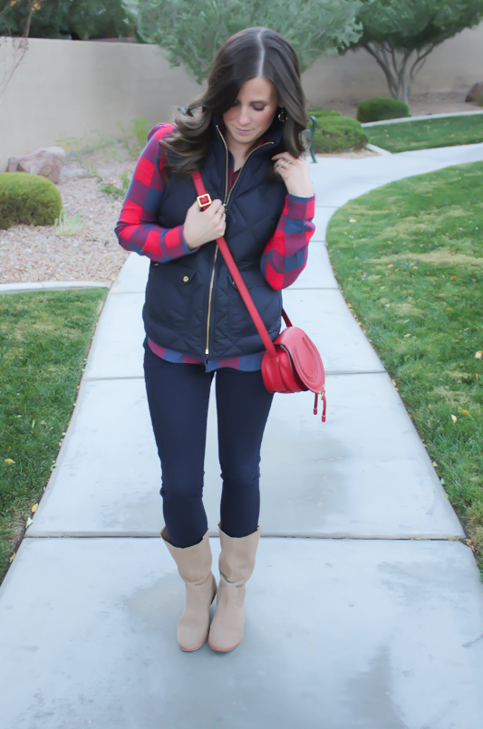 Blue and Red Buffalo Plaid Shirt, Navy Quilted Vest, Dark Rinse Skinny Jeans, Red Crossbody, Slouchy Boots, J.Crew, Gap, Chloe, Joie 5