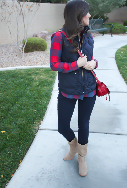 Blue and Red Buffalo Plaid Shirt, Navy Quilted Vest, Dark Rinse Skinny Jeans, Red Crossbody, Slouchy Boots, J.Crew, Gap, Chloe, Joie 6