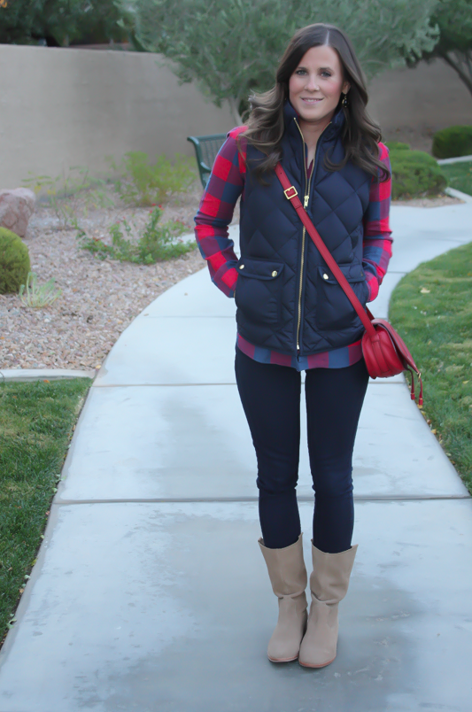 Blue and Red Buffalo Plaid Shirt, Navy Quilted Vest, Dark Rinse Skinny Jeans, Red Crossbody, Slouchy Boots, J.Crew, Gap, Chloe, Joie 7