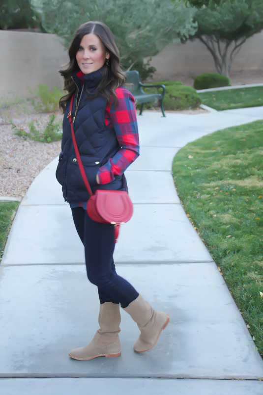 Blue and Red Buffalo Plaid Shirt, Navy Quilted Vest, Dark Rinse Skinny Jeans, Red Crossbody, Slouchy Boots, J.Crew, Gap, Chloe, Joie 9