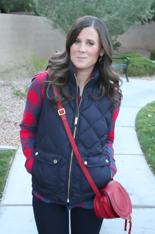 Blue and Red Buffalo Plaid Shirt, Navy Quilted Vest, Dark Rinse Skinny Jeans, Red Crossbody, Slouchy Boots, J.Crew, Gap, Chloe, Joie