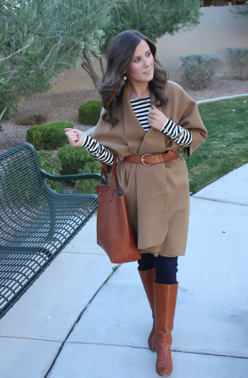 Camel Poncho, Striped Tee, Dark Rinse Skinny Jeans, Cognac Tote-Boots-Belt 2