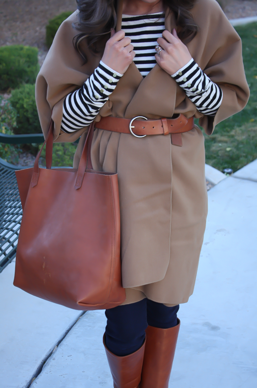 Camel Poncho, Striped Tee, Dark Rinse Skinny Jeans, Cognac Tote-Boots-Belt 3