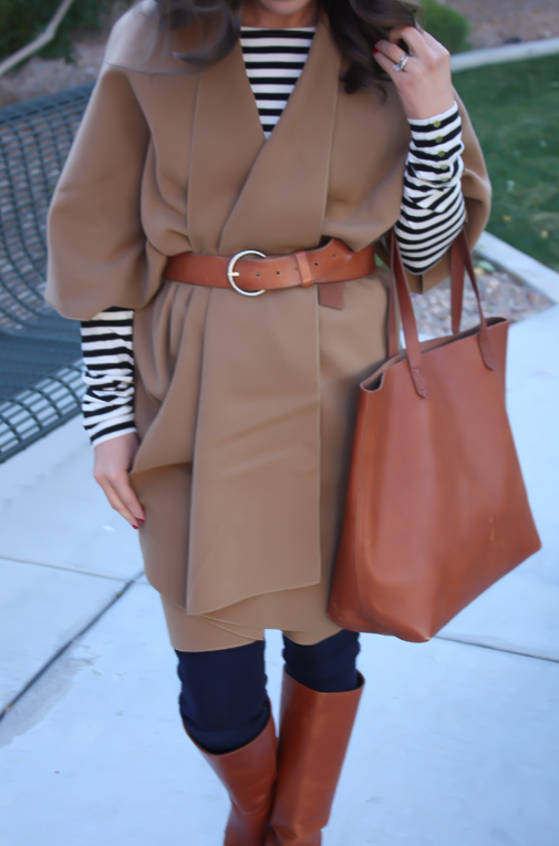 Camel Poncho, Striped Tee, Dark Rinse Skinny Jeans, Cognac Tote-Boots-Belt 7