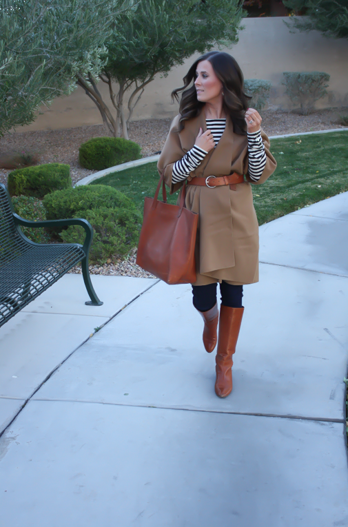 Camel Poncho, Striped Tee, Dark Rinse Skinny Jeans, Cognac Tote-Boots-Belt 8