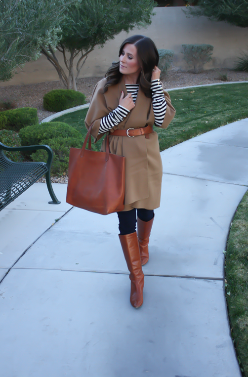 Camel Poncho, Striped Tee, Dark Rinse Skinny Jeans, Cognac Tote-Boots-Belt 9