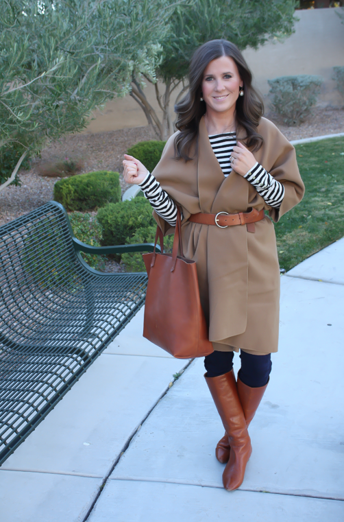 Camel Poncho, Striped Tee, Dark Rinse Skinny Jeans, Cognac Tote-Boots-Belt