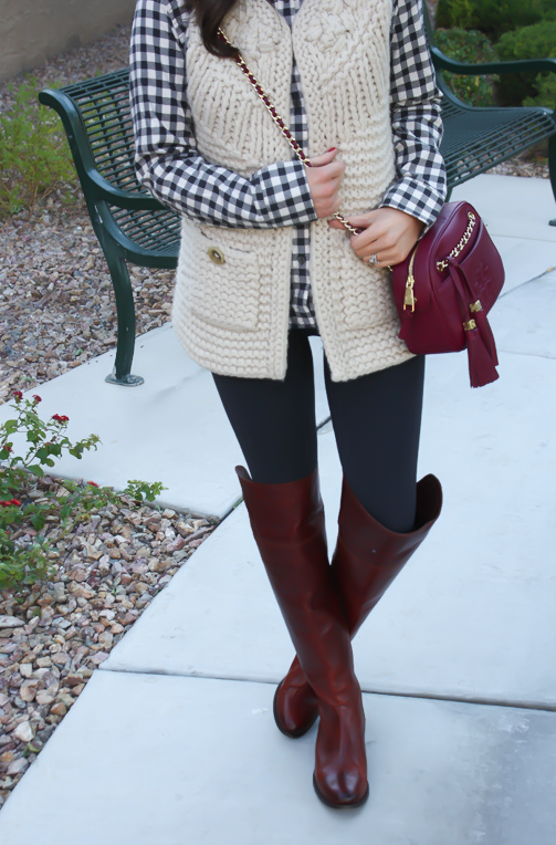 Grey Leggings, Grey Gingham Shirt, Beige Sweater Vest, Brown Over The Knee Boots, Cabernet Crossbody Bag, Banana Republic, Target, Anthropologie, Frye Boots, Tory Burch 15