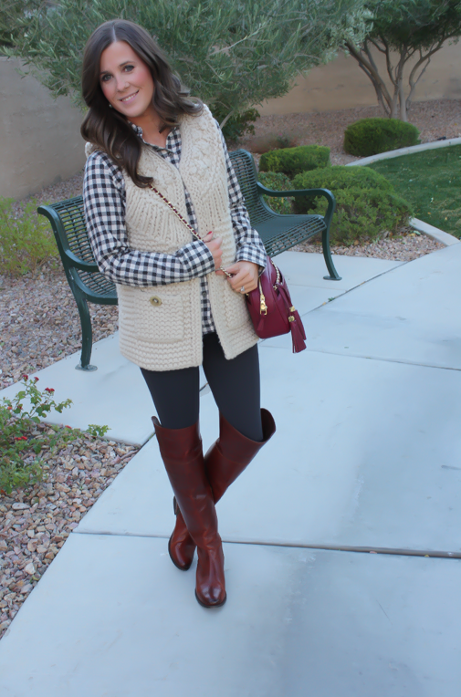 Grey Leggings, Grey Gingham Shirt, Beige Sweater Vest, Brown Over The Knee Boots, Cabernet Crossbody Bag, Banana Republic, Target, Anthropologie, Frye Boots, Tory Burch 16