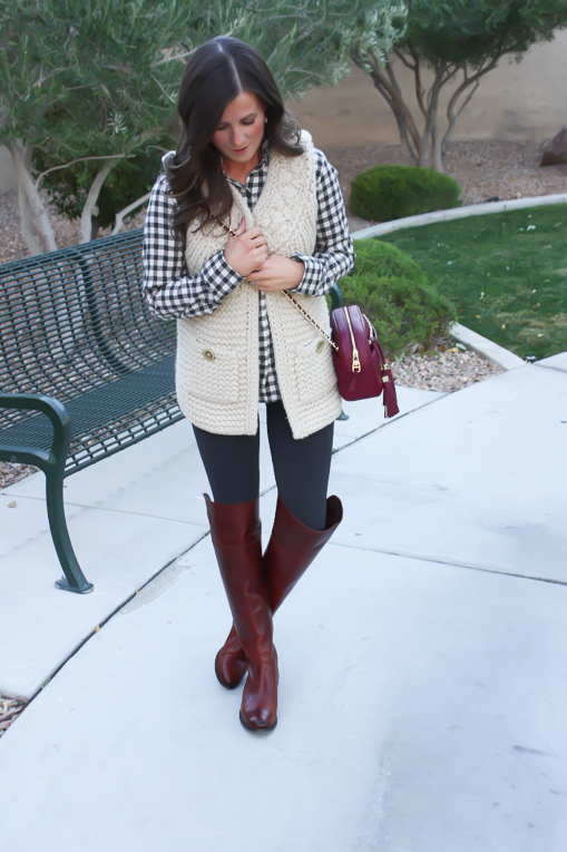Grey Leggings, Grey Gingham Shirt, Beige Sweater Vest, Brown Over The Knee Boots, Cabernet Crossbody Bag, Banana Republic, Target, Anthropologie, Frye Boots, Tory Burch 2
