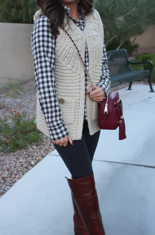 Grey Leggings, Grey Gingham Shirt, Beige Sweater Vest, Brown Over The Knee Boots, Cabernet Crossbody Bag, Banana Republic, Target, Anthropologie, Frye Boots, Tory Burch 20