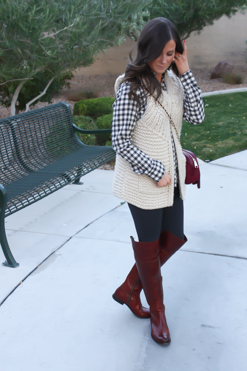 Grey Leggings, Grey Gingham Shirt, Beige Sweater Vest, Brown Over The Knee Boots, Cabernet Crossbody Bag, Banana Republic, Target, Anthropologie, Frye Boots, Tory Burch 4