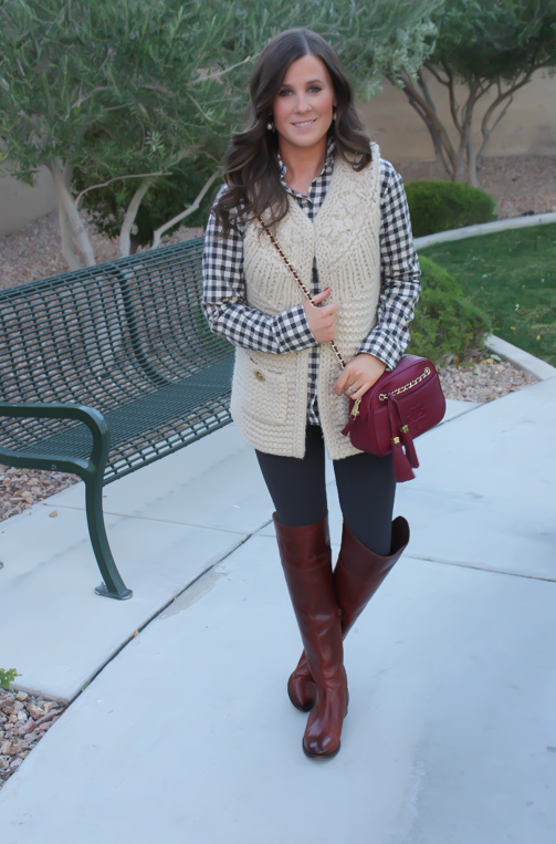 Grey Leggings, Grey Gingham Shirt, Beige Sweater Vest, Brown Over The Knee Boots, Cabernet Crossbody Bag, Banana Republic, Target, Anthropologie, Frye Boots, Tory Burch 6