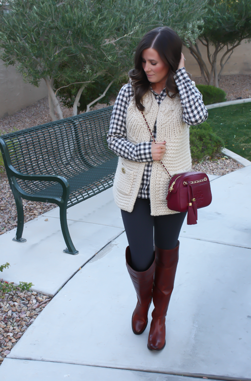 Grey Leggings, Grey Gingham Shirt, Beige Sweater Vest, Brown Over The Knee Boots, Cabernet Crossbody Bag, Banana Republic, Target, Anthropologie, Frye Boots, Tory Burch 8