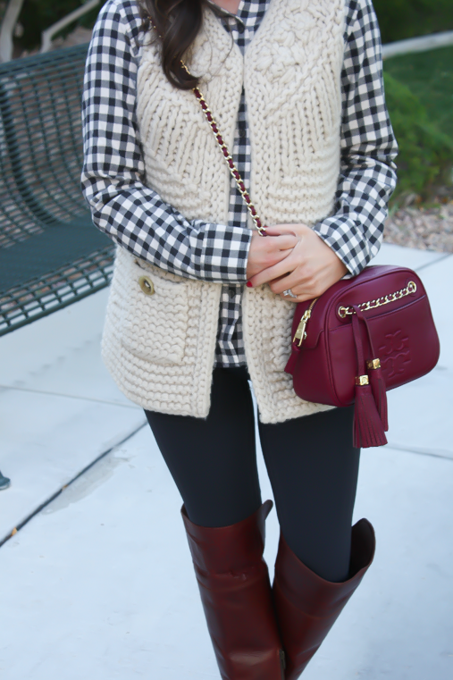 Grey Leggings, Grey Gingham Shirt, Beige Sweater Vest, Brown Over The Knee Boots, Cabernet Crossbody Bag, Banana Republic, Target, Anthropologie, Frye Boots, Tory Burch 9