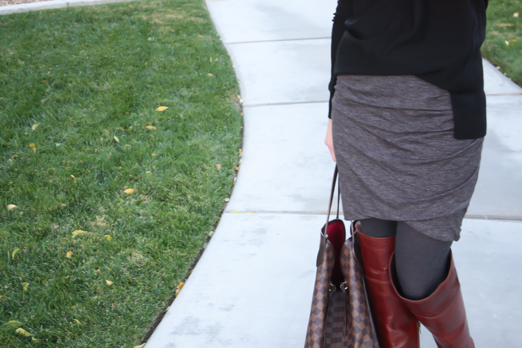 Grey Rouched Skirt, Black Tunic Sweater, Grey Sweater Tights, Brown Over the Knee Boots, Large Tote, Banana Republic, Target, Frye Boots, Louis Vuitton 14