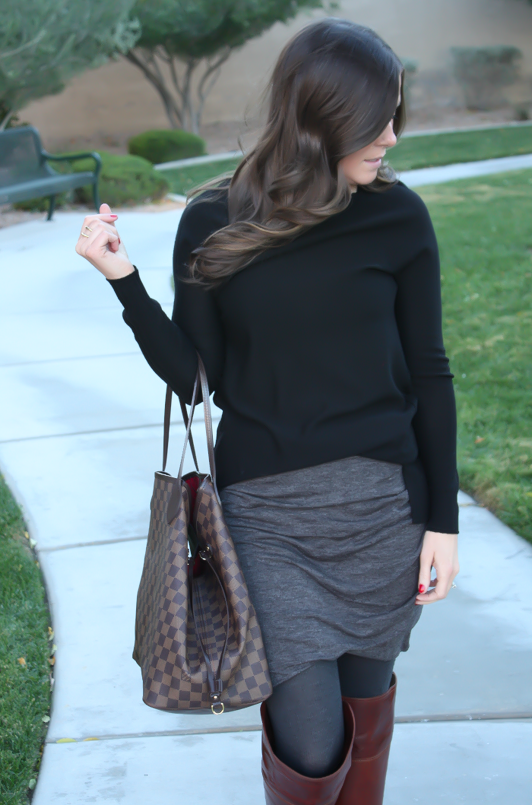 Grey Rouched Skirt, Black Tunic Sweater, Grey Sweater Tights, Brown Over the Knee Boots, Large Tote, Banana Republic, Target, Frye Boots, Louis Vuitton 5