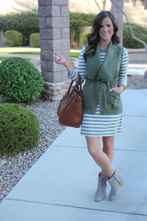 Grey and Ivory Striped Dress, Olive Green Utility Vest, Grey Booties, Cognac Tote, Gap, Anthropologie, Rag and Bone, Celine 2