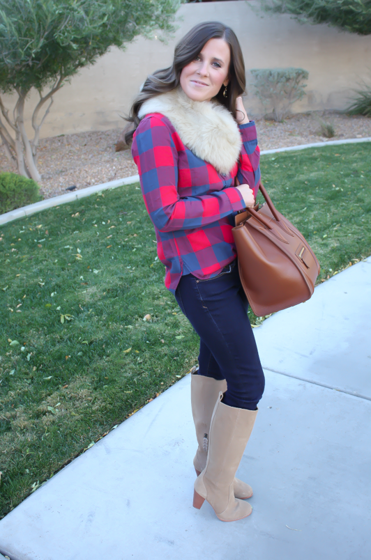 Plaid Flannel Shirt, Skinny Jeans, Tall Suede Boots, Luggage Tote, Fur Tucker, J.Crew, Gap, Joie, Celine 10