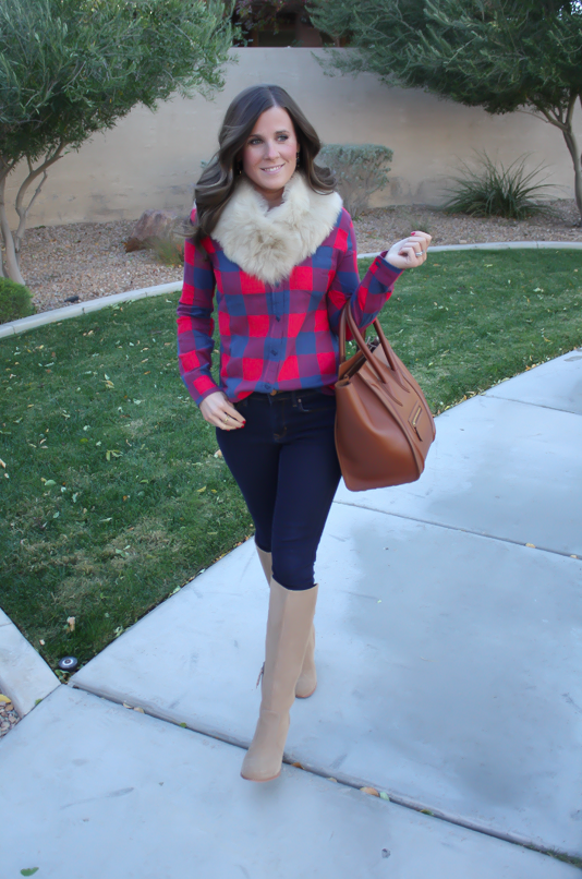 Plaid Flannel Shirt, Skinny Jeans, Tall Suede Boots, Luggage Tote, Fur Tucker, J.Crew, Gap, Joie, Celine 12