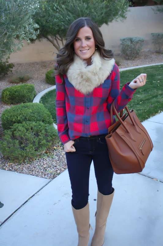 Plaid Flannel Shirt, Skinny Jeans, Tall Suede Boots, Luggage Tote, Fur Tucker, J.Crew, Gap, Joie, Celine 14
