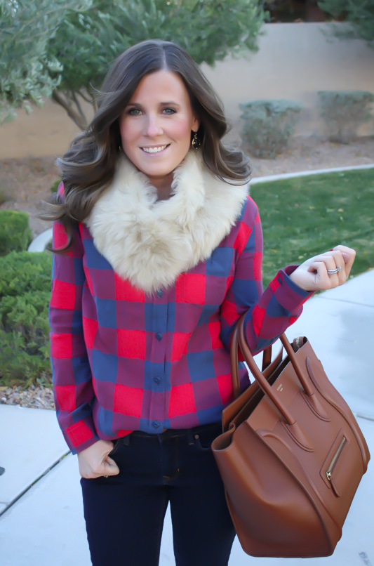 Plaid Flannel Shirt, Skinny Jeans, Tall Suede Boots, Luggage Tote, Fur Tucker, J.Crew, Gap, Joie, Celine 16