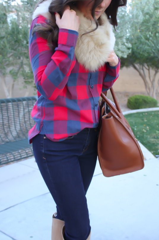 Plaid Flannel Shirt, Skinny Jeans, Tall Suede Boots, Luggage Tote, Fur Tucker, J.Crew, Gap, Joie, Celine 17