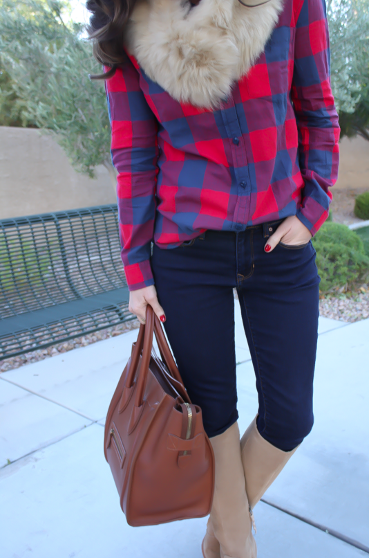 Plaid Flannel Shirt, Skinny Jeans, Tall Suede Boots, Luggage Tote, Fur Tucker, J.Crew, Gap, Joie, Celine 18