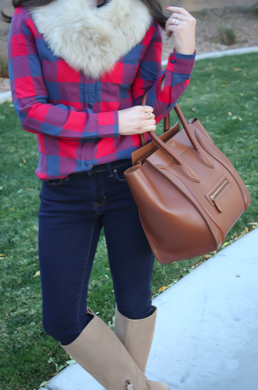 Plaid Flannel Shirt, Skinny Jeans, Tall Suede Boots, Luggage Tote, Fur Tucker, J.Crew, Gap, Joie, Celine 3