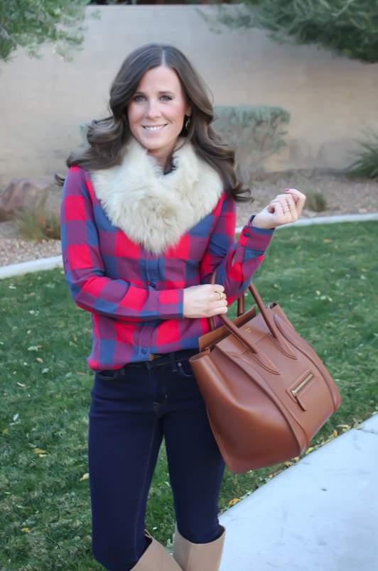 Plaid Flannel Shirt, Skinny Jeans, Tall Suede Boots, Luggage Tote, Fur Tucker, J.Crew, Gap, Joie, Celine 4