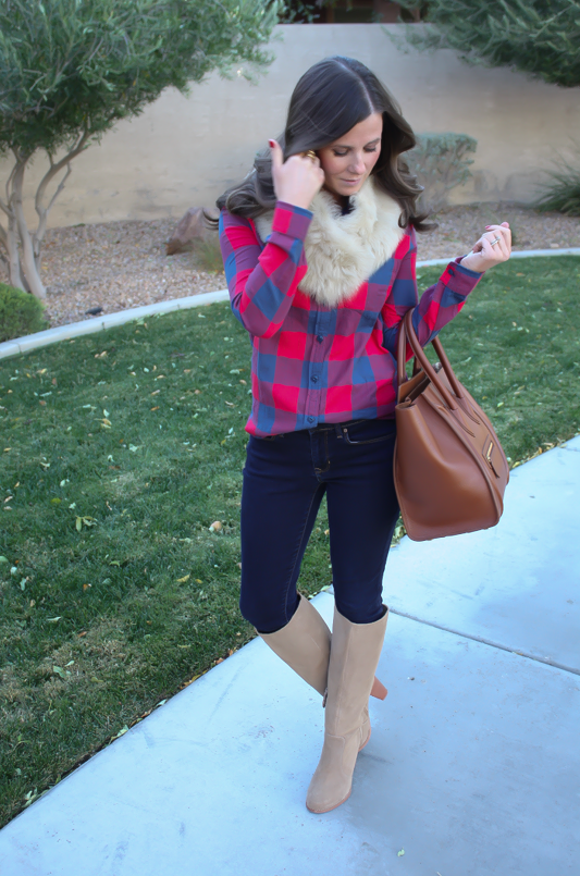 Plaid Flannel Shirt, Skinny Jeans, Tall Suede Boots, Luggage Tote, Fur Tucker, J.Crew, Gap, Joie, Celine 6
