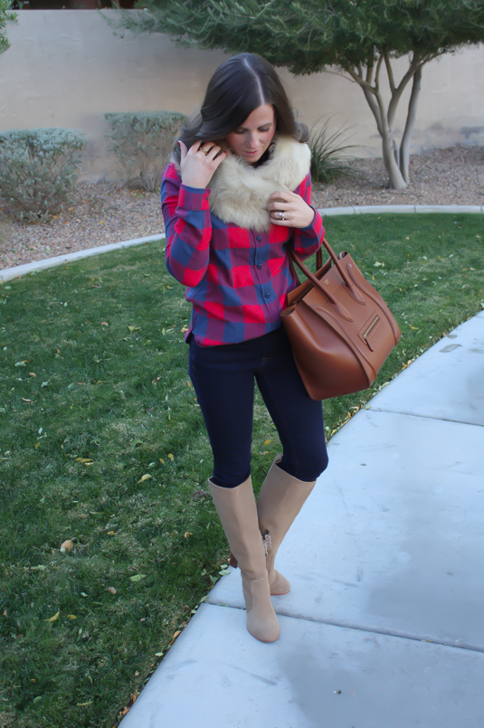Plaid Flannel Shirt, Skinny Jeans, Tall Suede Boots, Luggage Tote, Fur Tucker, J.Crew, Gap, Joie, Celine
