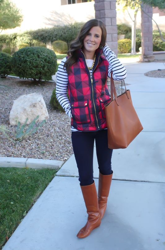 Red Buffalo Plaid Quilted Vest, White and Navy Striped Tee, Dark Rinse Skinny Jeans, Cognac Boots, Cognac Tote, J.Crew, H&M, Gap, Loeffler Randall, Madewell 12