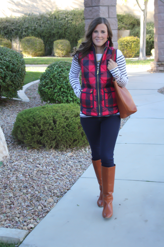 Red Buffalo Plaid Quilted Vest, White and Navy Striped Tee, Dark Rinse Skinny Jeans, Cognac Boots, Cognac Tote, J.Crew, H&M, Gap, Loeffler Randall, Madewell 13