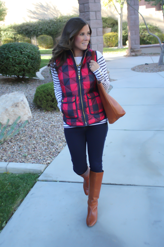 Red Buffalo Plaid Quilted Vest, White and Navy Striped Tee, Dark Rinse Skinny Jeans, Cognac Boots, Cognac Tote, J.Crew, H&M, Gap, Loeffler Randall, Madewell 15